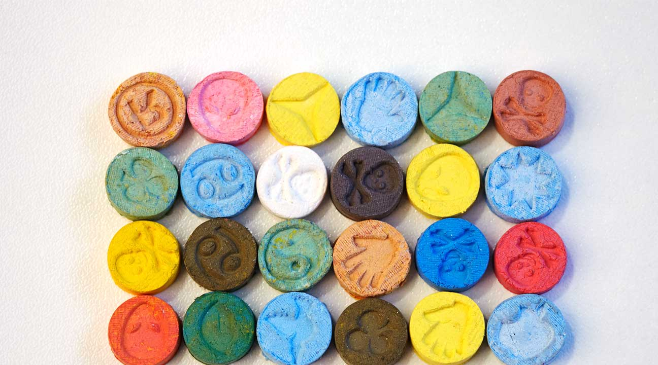 ecstasy pills of all different colors