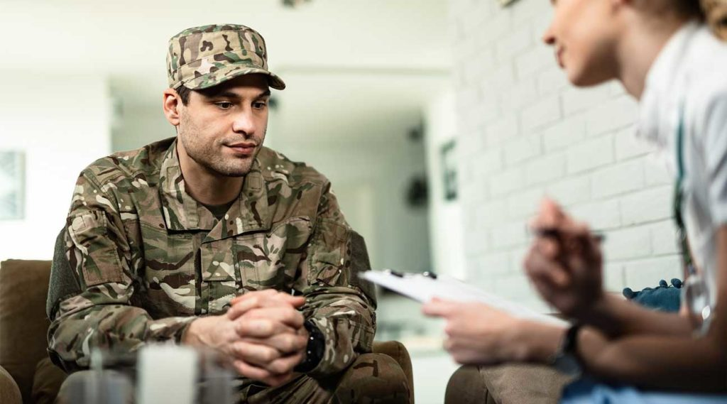 military veteran in therapy counseling